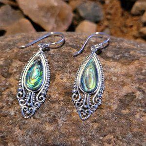 Abalone Sterling Silver Filigree Drop Earrings